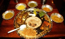 A typical Thali at Chokhi Dhani via wikimedia commons